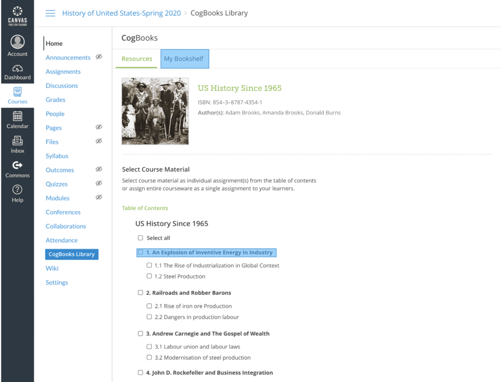 screenshot of canvas US History area table of contents