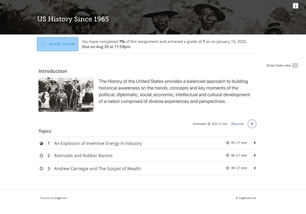 screenshot of intro to US History