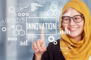 woman touching innovation logo